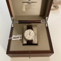 Frederique Constant Manufacture occasion 42mm Argent Chronographe Fonction flyback Date Cuir de crocodile