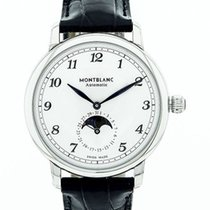 Montblanc new Automatic Display back Guilloché dial Tempered blue hands 42mm Steel Sapphire crystal