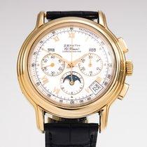 Zenith El Primero Chronomaster używany 40mm Biały Fazy księżyca Chronograf Data Wskaźnik dnia tygodnia Wskaźnik miesiąca Skóra krokodyla