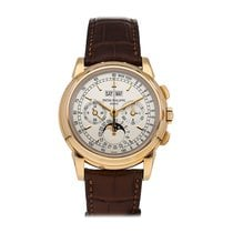 Patek Philippe Rose gold Manual winding Silver No numerals 40mm pre-owned Perpetual Calendar Chronograph