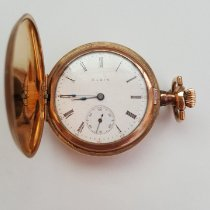 Elgin Vintage 1909 Gold Plated Elgin Pocket Watch, Working, Very Good Condition, Grade 320, Model 2, 7 Jewel, Size Os, Very nice Case, White Face 1909 używany
