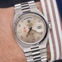 Rolex Day-Date Oysterquartz Bílé zlato 36mm Stříbrná Bez čísel