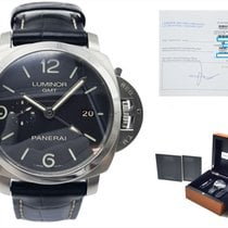 Panerai Luminor 1950 3 Days GMT Automatic Staal 44mm Zwart Arabisch