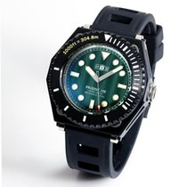 H.I.D. Watch Steel 46mm Automatic PRODIVE 300 Green Dial with Silver Trim (All Black) new