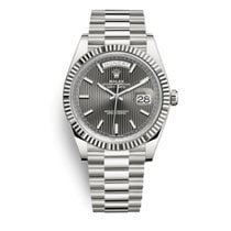 Rolex Day-Date 40 White gold 40mm Grey Roman numerals