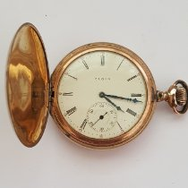 Elgin Vintage Elgin Gold Plated Pocket Watch, Year 1907, Floral Bird Case, 7 Jewel, Size 12s, Hunting, Model 2, Grade 301, Very Good Condition 1907 brugt