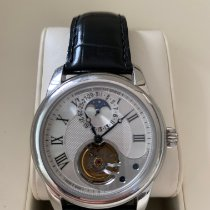 Frederique Constant Manufacture Heart Beat pre-owned 42mm Silver Moon phase Tourbillon Date Crocodile skin