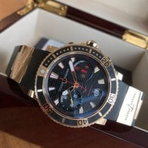 Ulysse Nardin Yellow gold Automatic Black No numerals 42.7mm pre-owned Maxi Marine Diver