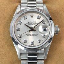 Rolex Platine Remontage automatique Argent Sans chiffres 27mm nouveau Lady-Datejust