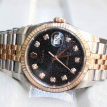 Rolex Datejust Or/Acier 36mm Noir Sans chiffres