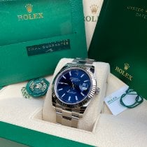 Rolex White gold Automatic Blue No numerals 41mm new Datejust