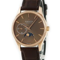 Zenith Elite Ultra Thin pre-owned Brown Moon phase Crocodile skin