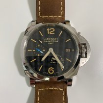 Panerai Luminor 1950 3 Days GMT Power Reserve Automatic pre-owned 42mm Black Leather
