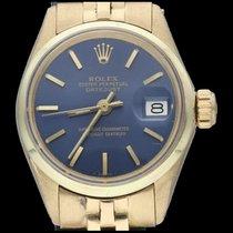 Rolex Oyster Perpetual Lady Date Geelgoud 26mm Blauw Geen cijfers