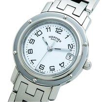 Hermès Clipper Stahl 24mm Weiß