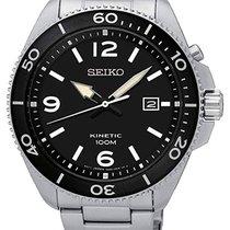 Seiko Kinetic Steel 44.70mm Black Arabic numerals