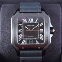 Cartier Сталь Автоподзавод Черный 39.8mm новые Santos (submodel)