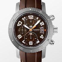 Hermès Clipper Stahl 44mm Braun Arabisch
