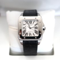 Cartier Santos 100 pre-owned 51.1mm White Crocodile skin