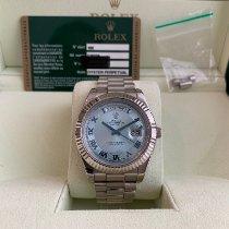 Rolex Day-Date II Or blanc 41mm Bleu