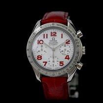 Omega Speedmaster Reduced gebraucht 39mm Perlmutt Chronograph Leder