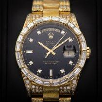 Rolex Day-Date Or jaune 36mm Noir Sans chiffres