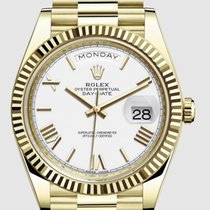 Rolex Yellow gold Automatic White 40mm pre-owned Day-Date 40