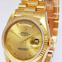 Rolex Yellow gold Automatic Champagne Roman numerals 36mm pre-owned Day-Date 36