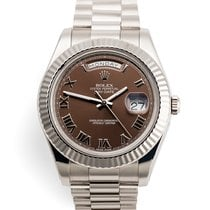 Rolex Day-Date II White gold 41mm Brown Roman numerals