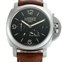 Panerai Luminor 1950 3 Days GMT Power Reserve Automatic pre-owned 44mm Black Date GMT Crocodile skin
