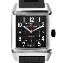 Jaeger-LeCoultre Steel Automatic Black Arabic numerals 35mm pre-owned Reverso Squadra Hometime