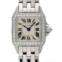 Cartier White gold Quartz Silver 24mm pre-owned Santos Demoiselle