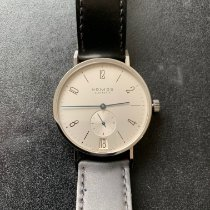 NOMOS Tangente 38 Datum pre-owned 38mm Silver Date Leather