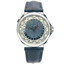 Patek Philippe World Time occasion 37mm Bleu GMT Cuir