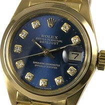 Rolex Oyster Perpetual Lady Date Yellow gold 26mm Blue No numerals