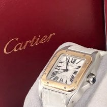 Cartier Santos 100 pre-owned 30mm White Crocodile skin