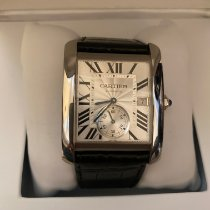 Cartier Steel Automatic Silver Roman numerals 34mm pre-owned Tank MC