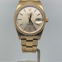 Rolex Or jaune Remontage automatique Argent Sans chiffres 34mm occasion Oyster Perpetual Date