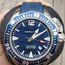 Hamilton Khaki Navy Frogman Staal Blauw