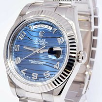 Rolex White gold Automatic Blue 41mm pre-owned Day-Date II