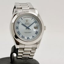 Rolex Day-Date II Platino 41mm Azul Romanos