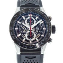 TAG Heuer Carrera Calibre HEUER 01 pre-owned 45mm Transparent Chronograph Date Rubber
