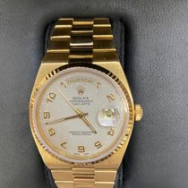 Rolex Day-Date Oysterquartz Yellow gold 36mm Silver No numerals