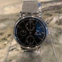 IWC Portofino Chronograph pre-owned 42mm Black Chronograph Date Weekday Steel