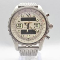 Breitling Chronospace pre-owned 48mm White Chronograph Date GMT Steel