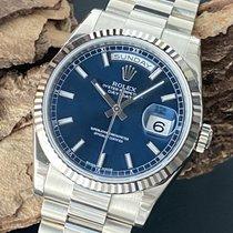 Rolex Day-Date 36 Witgoud 36mm Blauw