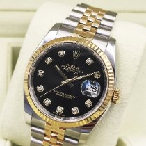 Rolex Datejust Золото/Cталь 36mm Черный
