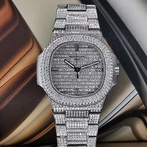 Patek Philippe White gold 40mm Automatic Nautius 5711 original 324SC Movement custom upgrade Full diamond 18K white gold 5719 appearance new