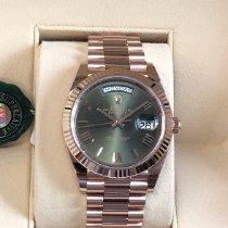 Rolex Oro rosa Automático Verde Romanos 40mm nuevo Day-Date 40
