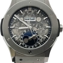 Hublot Classic Fusion Aerofusion pre-owned 45mm Moon phase Date Month Crocodile skin
